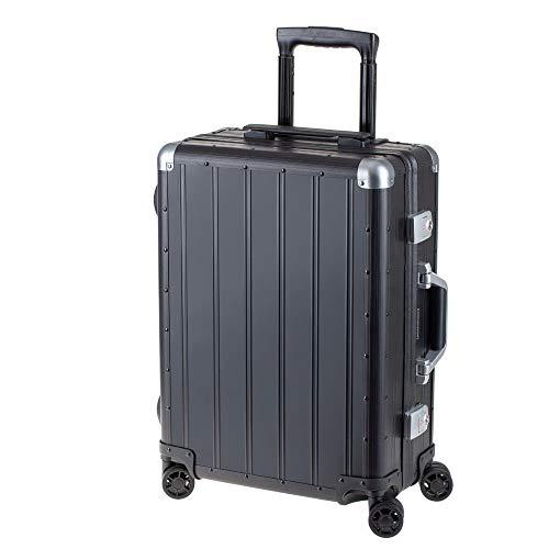 Alumaxx 45171 - Reisekoffer Orbit, Rollkoffer aus Aluminium, Trolleykoffer mit 4 doppelten 360° Leichtlaufrollen, schwarzer Koffer ca. 54 cm