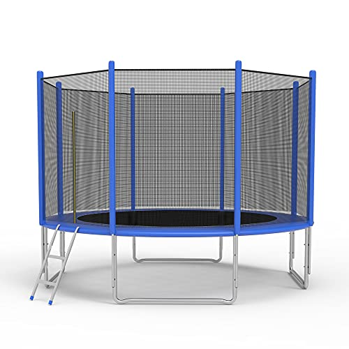 TRY & DO 10FT Trampoline for Kids and Adults - Outdoor Recreational Jump Bounce Trampoline with Enclosure Net and Ladder and Spring Pad - Family Fun Healthy Time