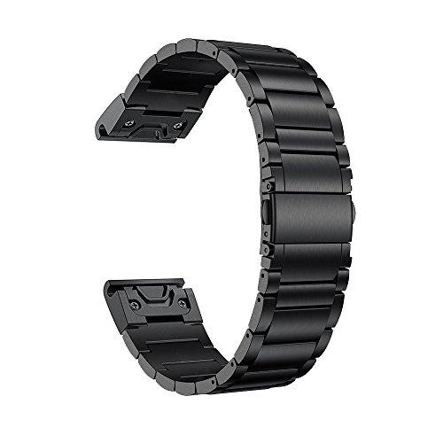 LDFAS Titanium Band Compatible Fenix 6 Pro/5 Plus Band, 22mm Titanium Metal Quick Release Easy Fit Watch Strap Compatible for Garmin Fenix 5 Plus 6 Pro/Forerunner 935/945 Smartwatch, Black Update