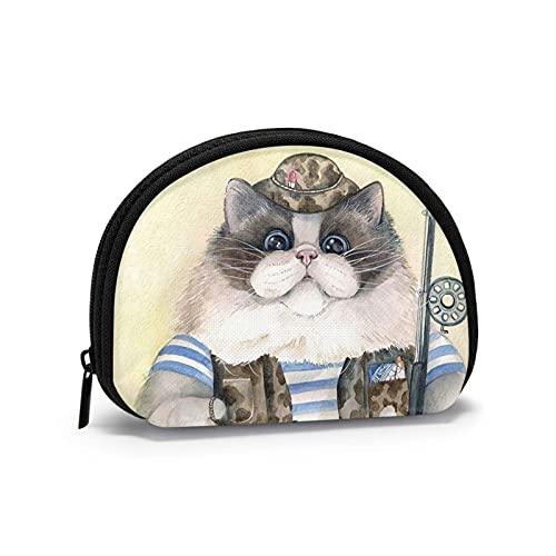 Divertido gato gordo Pesca Pintura Arte Impreso Cambio Temático Monedero Lindo Shell Almacenamiento Bolsa Chica Carteras Bule Monederos Key Pouch Gifys Mujer Novedad