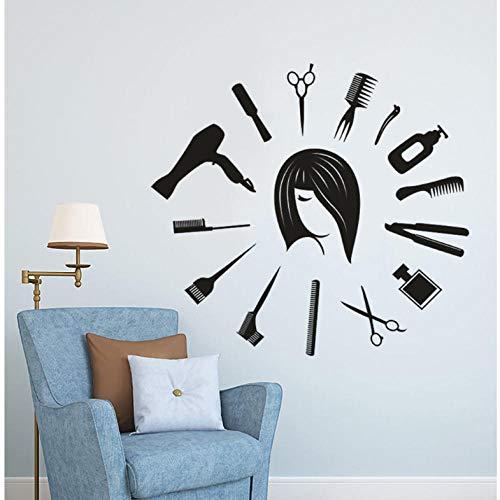 Hair Salon Wall Window Decal Herramientas de pelo Etiqueta de la pared Estilista de pelo Mural Reloj Forma Peluquería Salón de belleza Decoración 62 * 57 cm