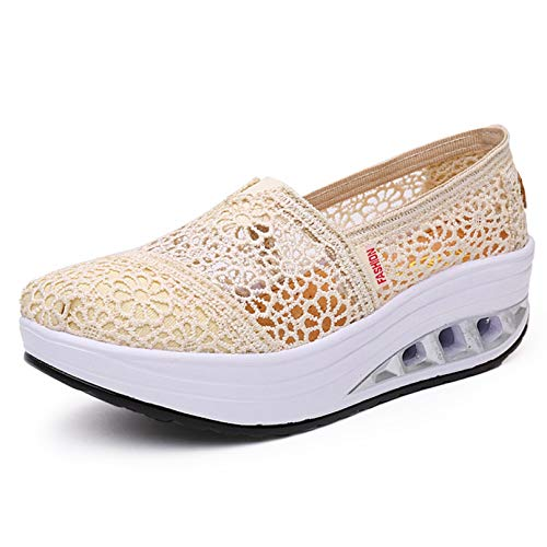 Zapatos Gruesos para Mujer, Encaje de Fondo Suave, al Aire Libre, Primavera y Verano, Zapatillas de Deporte para Caminar, Zapatos de cuña para Mujer