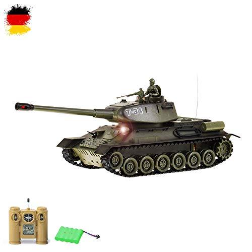 Himoto HSP RC Ferngesteuerter Russischer Sowjetischer T-34 Panzer mit Kampf-Funktion, Schusssimulation und Sound, Komplett-Set mit 2.4GHz Fernsteuerung, Maßstab 1:28