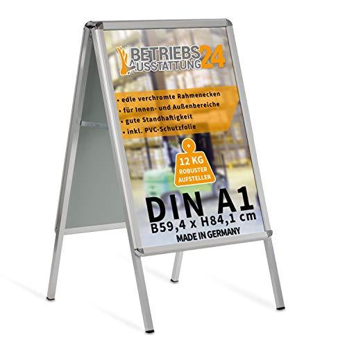 Betriebsausstattung24® Kundenstopper Gehwegaufsteller Werbetafel | für zwei Plakate | Aluminium Plakatständer | inkl. PVC Schutzfolie (A1 B59,4,0 x H84,1 cm)