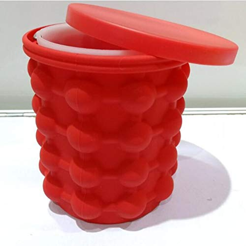 Cubo de hielo de silicona de grado alimenticio Cubo de hielo universal de silicona redondo Cubo de hielo de silicona Bandeja de hielo molde de cubitos de hielo (color: rojo)