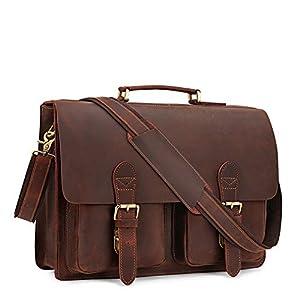 "Kattee Handmade Genuine Leather Satchel 15"" Laptop Briefcase Messenger Bag"