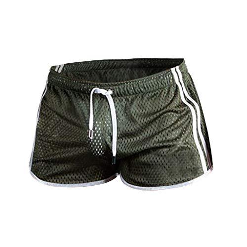 Xmiral Badehose Herren Transparent Mesh Schnelltrocknend Mini Boxershorts Atmungsaktiv Beach Schwimmshorts mit Kordel(Grün,XL)