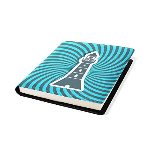 COOSUN Phare Icône Résumé Rays Sun Book Cover Sox Stretchable Livre, La Plupart des Fits Relié jusqu'à 9 manuels x 11. adhésif Libre, école Cuir PU Livre Protector 9 x 11 Pouces Multicolore