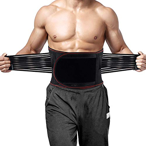 Lower Back Brace Support, Lumbar Support Belt for Back Pain Relief - Waist Backbrace with 3 Lumbar Pad for Sciatica, Scoliosis and Herniated Disc - Dual Adjustable Straps Breathable Mesh Panels-L-XL