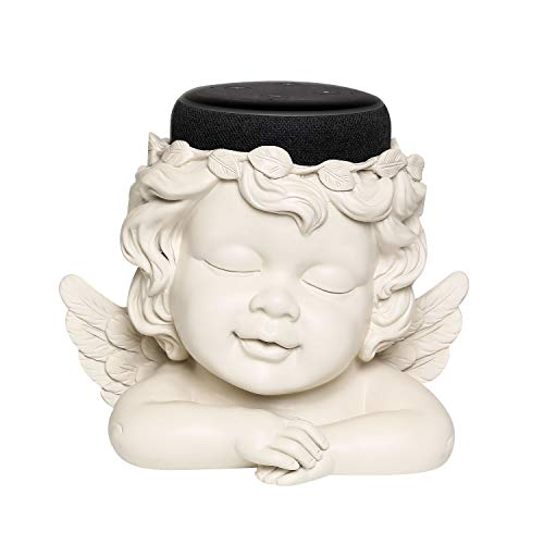 Angel Statue Crafted Stand Holder for Echo Dot 3rd Generation,Aleax Smart Home Speakers Holder Accessories, White