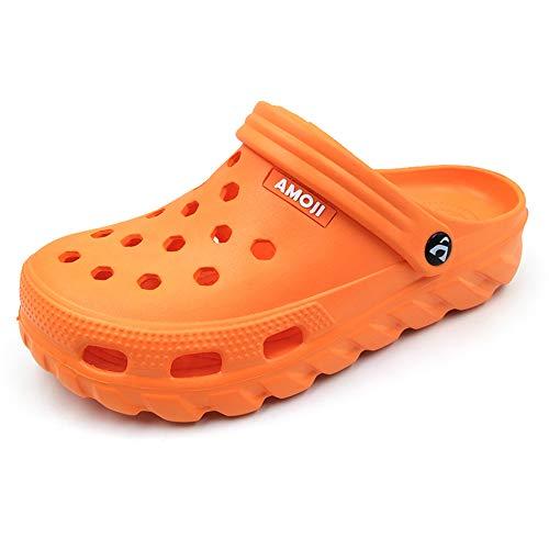 AMOJI Zuecos Zapatos de jardín Hombres Zapatillas de plástico Zapatos de jardín Mujeres Sabot Sandalias Zapatos de Ducha Verano Adultos Hombre Mujer Naranja 35 EU