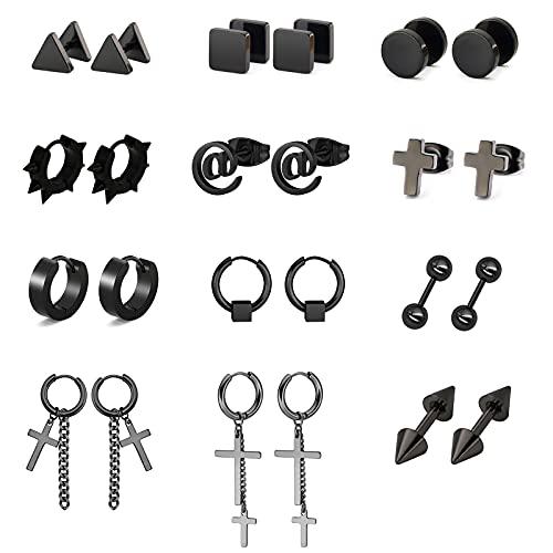 Black Stainless Steel Mens and Womens Stud Earrings Set 12 pares de acero inoxidable Cruz Pendientes para hombre Pendientes negros Pendientes de aro Set de Piercings para hombres y mujeres