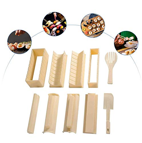 Sushi Making Kit 10 Pcs Rice Roll Mold All In One Sushi Set ABS sushi maker Sushi Rice Roll Mold Sushi Making Tool Perfect DIY Home Sushi Tool for Beginner Kids and Sushi Lover
