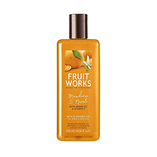 Fruit Works Mandarin & Neroli Cruelty Free & Vegan Bath & Shower Gel With Natural Extracts 1x 500ml
