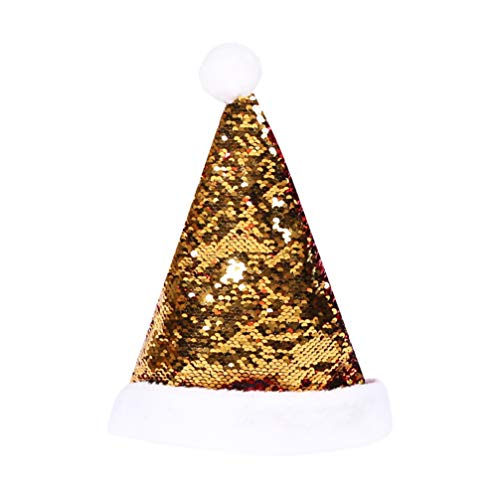 Amosfun weihnachtsmütze Pailletten weihnachtsmützen Kopfschmuck für Weihnachten Festival Party Supplies Performance Requisiten (golden)