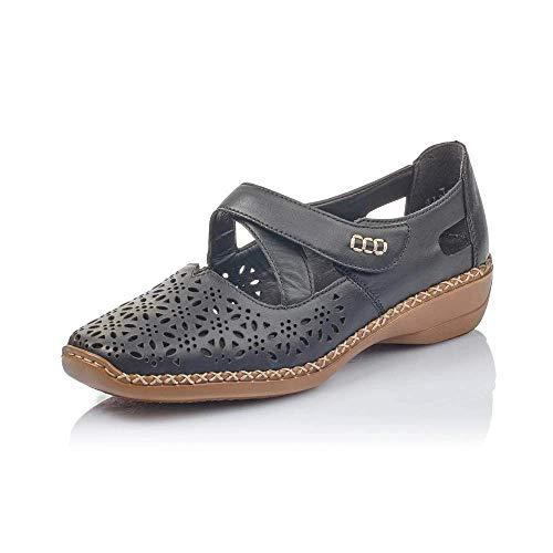 Rieker Ladies Casual Cut Out Shoes 413J0-00 - Black Leather - UK Size 6 - EU Size 39 - US Size 8