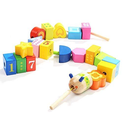 Bloque de madera juguete grandes letras de madera y bloques digitales 20 piezas para niños gran encaje con cuentas con cuentas para niños Cadena educativa educativa para niños (Color: Multicolor, Tama