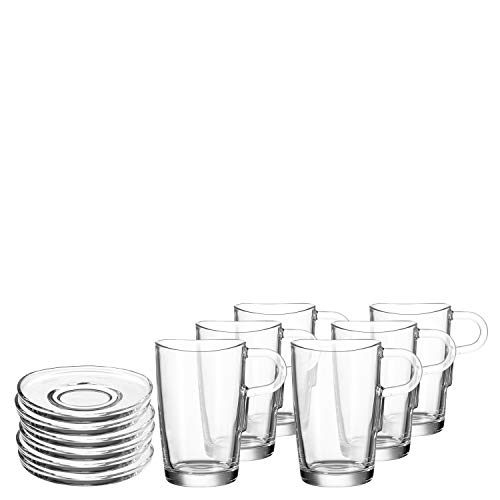 Leonardo Latte Macchiatobecher + Untere Loop, 6 Kaffee-Gläser inklusive 6 Unter-Tassen, 365-ml Füllvolumen,12-teilig, 032834