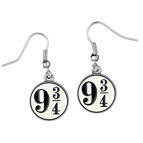 """Harry Potter - Orecchini pendenti con numero binario per Hogwarts """"9 3/4"""", placcati argento, prodotto ufficiale"""