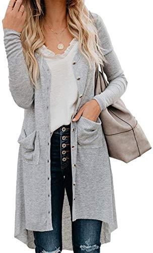 ORANDESIGNE Cardigan Donna Elegante a Maniche Lunghe per Autunno Giacca Lungo Irregolare Casual Maglia Maglione Cappotto con Bottoni Tasche A Grigio 48