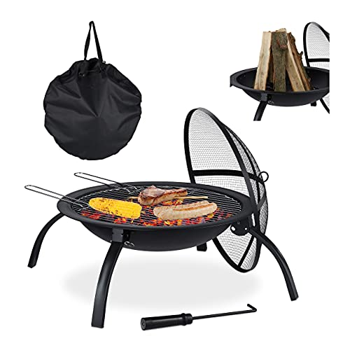 Relaxdays XL Feuerschale, mit Tasche, Grill Rost, Schürhaken, Funkenschutz Deckel, Garten, Terrasse, D 56,5 cm, schwarz
