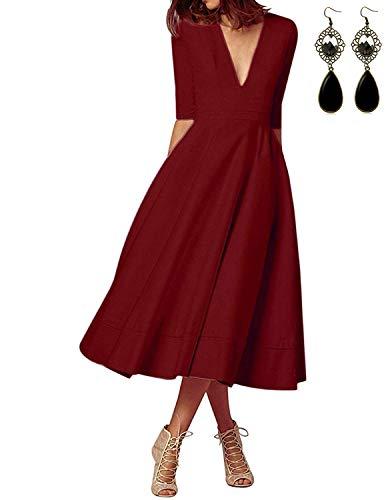 MODETREND Donna Vestiti Lunghi da Matrimonio Autunno Elegante Collo V Vestito A Pieghe Skater Abito Maxi Damigella Sera Cerimonia Inverno (XL, Rosso S