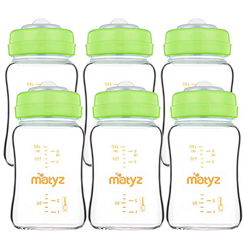 Matyz Glass Breastmilk Storage Bottles, 6 Pack, 6 oz, Compatible with Spectra Medela Breast Pump - Store, Freeze, Warm Up Milk Well - Wide Mouth Breastmilk Storage Containers - BPA Free (Green Lids)