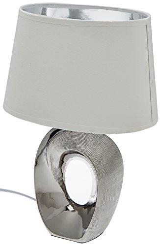Reality Leuchten Taba R50511089 Tischleuchte, Keramik, Stoffschirm Weiß / Silberfarbig