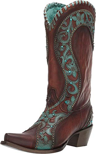 Corral Ld Chocolate /Turquoise Overlay & Woven & Crystals & Studs ,Size 7