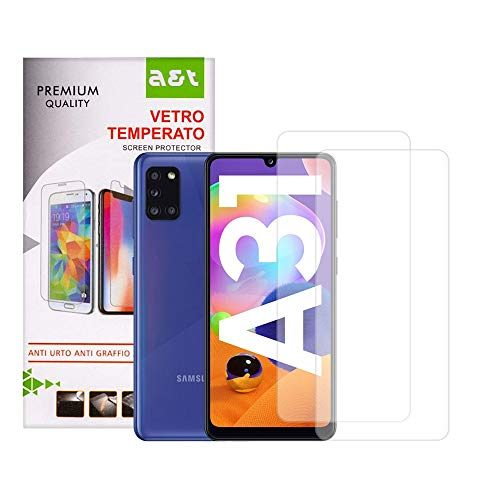A&T Tempered Glass for Samsung Galaxy A31 Anti-scratch Screen Protector Bubble-free Easy to open 2 pieces + 1 Transparent Anti-Skid Soft Washable Cover that Protects from Drops