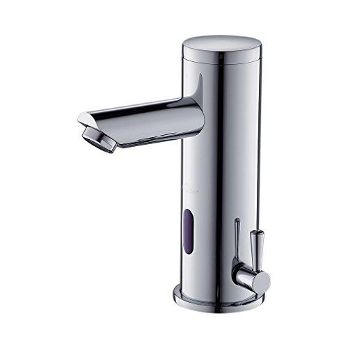 Auralum Rubinetto Automatico con Sensore ad Infrarossi Miscelatore Acqua Calda e Fredda per Lavabo Finitura Cromo