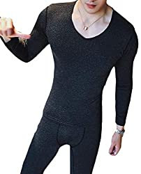 cfzsyyw Mens Thermal Underwear Set Plain Base Layer Top and Bottom
