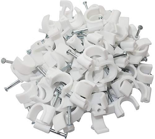 Aerzetix: 100 x Kabelklemme 10 mm Befestigungs mit Nagel Kabelschellen