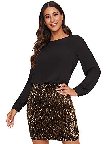 Romwe Women's Sexy Layered Look Fashion Club Wear Party Sparkle Sequin Tank Dress Black2 Medium