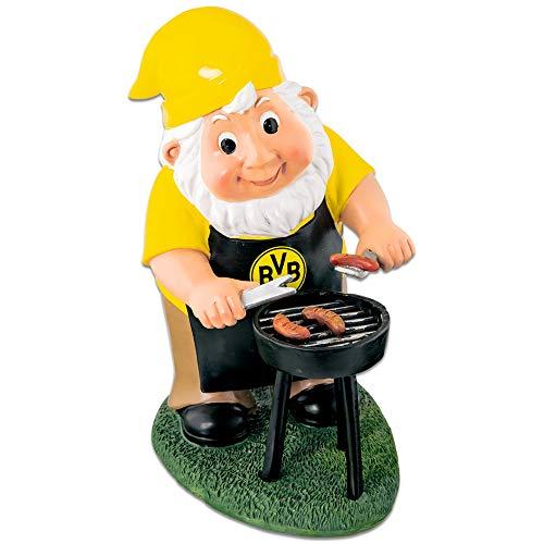 Borussia Dortmund BVB 17160100 Gartenzwerg mit Grill, Mehrfarbig, 13 x 16 x 25 cm