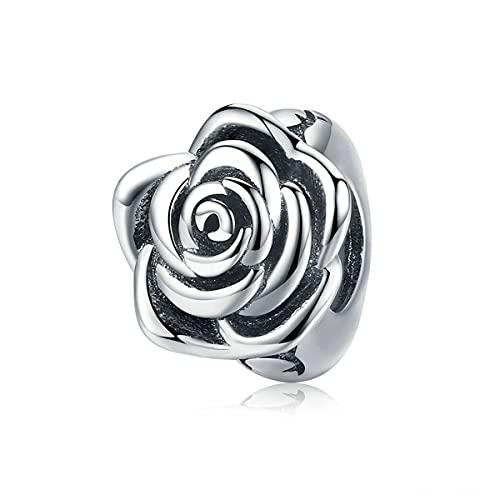 WMYDYBD Luxury 925 Sterling Silver Rose Flower Beads Fit Charm Pulsera Collar Colgante para Mujeres Partido Joyería de Boda