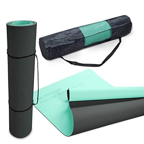 Paco Home Yogamatte Fitnessmatte Sportmatte rutschfest Reißfest Abwaschbar 8mm Dicke Zweifarbig Motivationsspruch Tasche & Tragegurt, Grösse:80x183 cm, Farbe:Mintgrün Grau