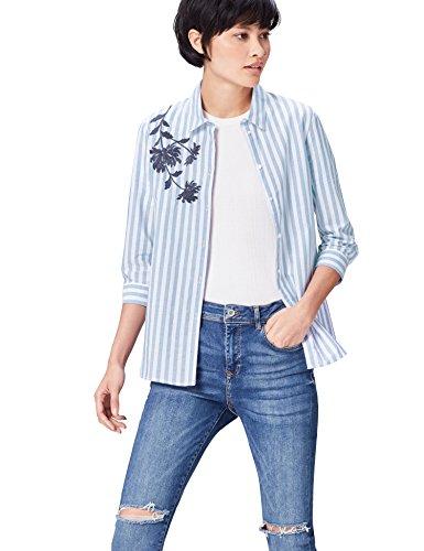 find. Damen Hemd mit Blumenstickerei und Streifen Blau (Blue/white), 36 (Herstellergröße: Small)