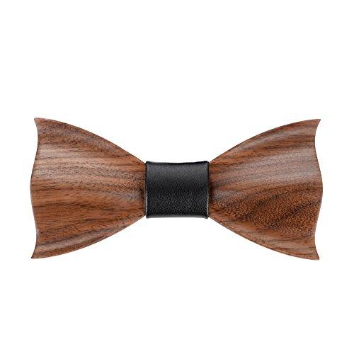 Hölz Fliege Herren, Mr.Van Handgearbeitete Natürliche Klassische Mode Hölzerne Krawatte Fliege für Hochzeiten, Aufführungen, Abschlussball, Partei und sogar tägliche Gebrauch (Braun)