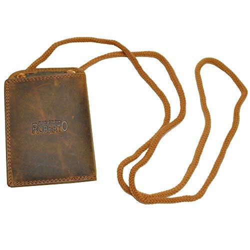 Echt Leder Brustbeutel von Portemonnaie in Dunkelbraun RFID Safe (braun)
