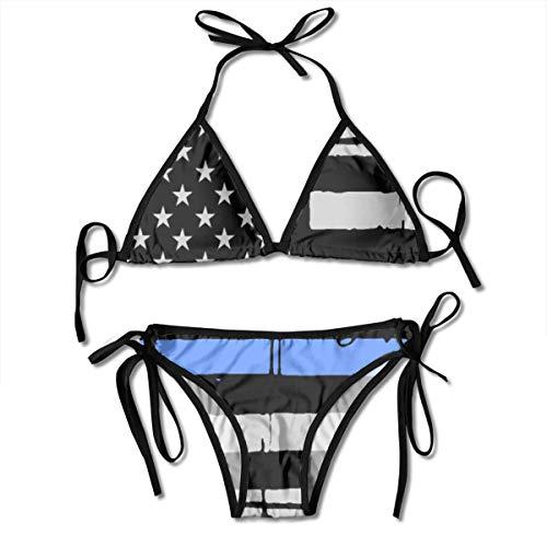 Ruin Buddha Flag Women's Two Piece Triangle Bikini Set Swimwear Swimsuits Beachwear Black