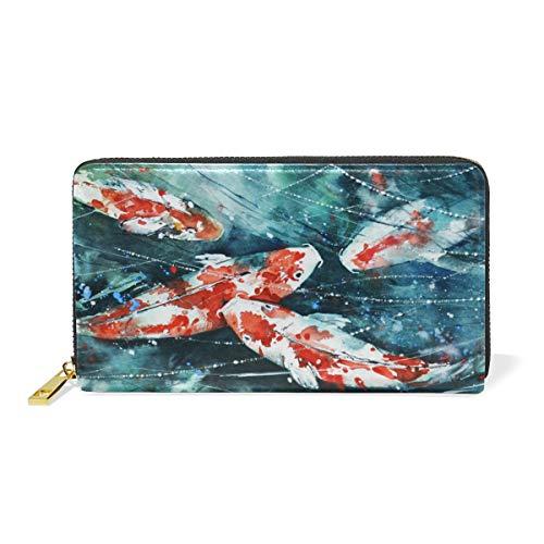Kunst Japanischer Fisch Reißverschluss Brieftasche Echtes Leder Geldbörse Kreditkarteninhaber für Frauen Telefon Mädchen Männer
