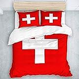 LOSUMIGE Bettwäsche-Set, Mikrofaser, Schweizer Flagge der Schweiz Genaue Maße Proportionen Farben Kreuz, Multicolor,1 Bettbezug 135 x 200cm + 2 Kopfkissenbezug 50 x 80cm