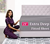"""King Fitted Sheet Deep Pocket – Extra Deep Pocket Fitted Sheet King Size 18"""" - 21"""" Inch + Fitted Bed Sheets Only - King Fitted Gray"""