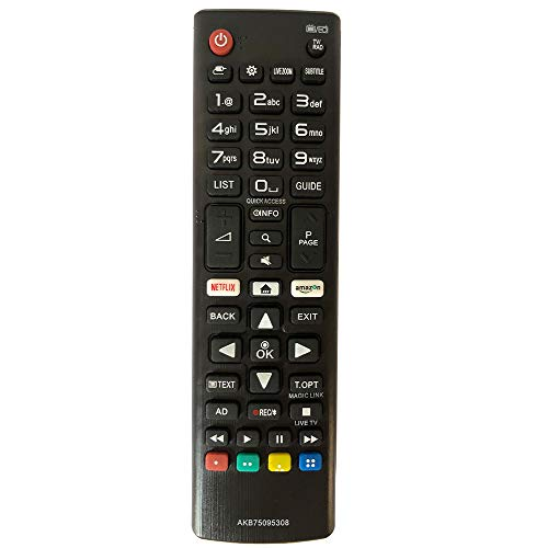 FYCJI Nuevo Reemplazo Mando LG AKB75095308 para Mando LG Smart TV Ajuste para Mando a Distancia LG con Netflix Amazon Botones