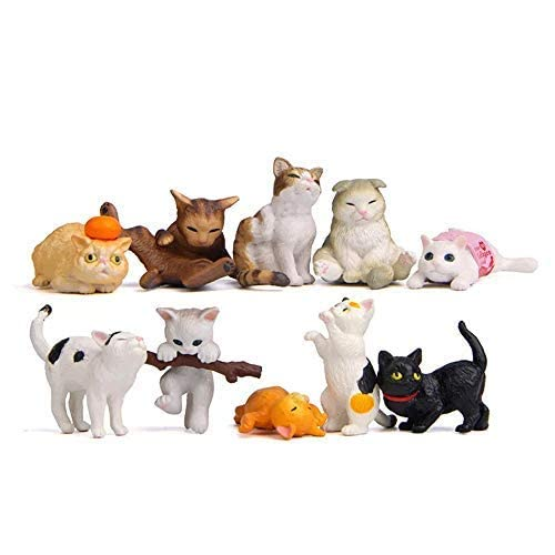 20 pcs (2 set) Kawaii Animal Cat Characters Toys Mini Figure Collection Playset, Cake Topper, Plant, Automobile decoration---QQ740154538