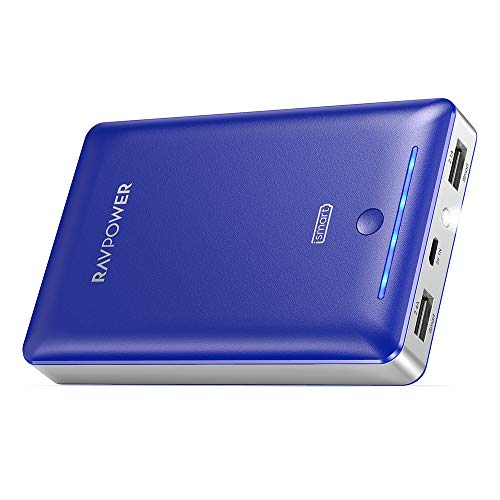 Power Bank RAVPower 16750mAh Portable Charger Ultra-Compact External Battery Pack with 4.5A Max Output Phone Charger Dual USB Ports & Flashlight for iPhone 11 Pro SE Samsung Galaxy S20 Note10 (Blue)