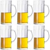 Hs&sure Tazze da Birra, Birra Steins, Birreria per Birre, Tazza di Birra, Tazze con Manico in Vetro, Tazze da tè, Tazze da Birra, 410 ml, Tute (6 Confezioni)