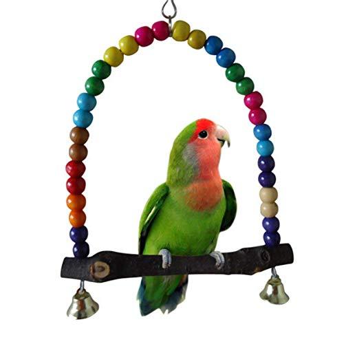 Spielzeug von Vögeln in Holz, Schaukel Papagei enthält Glocken Holzperlen, elegant Swing Hollywoodschaukel zum Aufhängen Wellensittich bunt 14 cmx14.3 cm