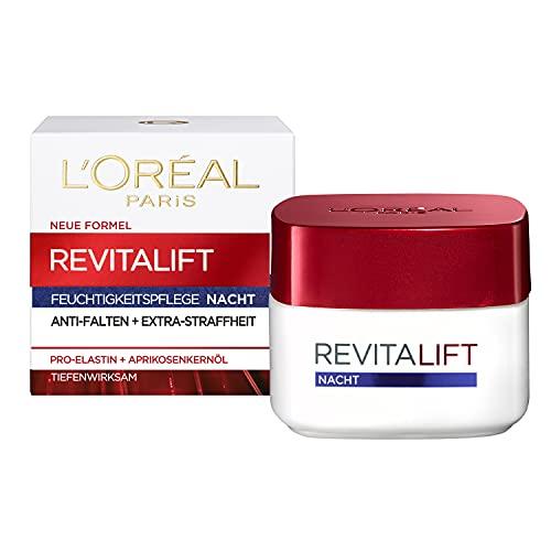 L'Oréal Paris Nachtpflege, Revitalift, Anti-Aging Gesichtspflege, Anti-Falten und Extra-Straffheit, Pro-Elastin und Aprikosenkernöl, 50 ml